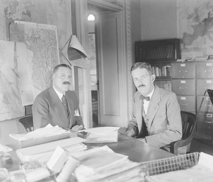 Minister Peter A. Jay and Allen Dulles at the State Dept. Dulles served five years as chief