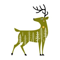 Vector illustration with green cartoon deer and white trees.