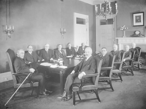 President Woodrow Wilson, with his Cabinet, at the end of his Presidency, c. 1920-1921. L-r: