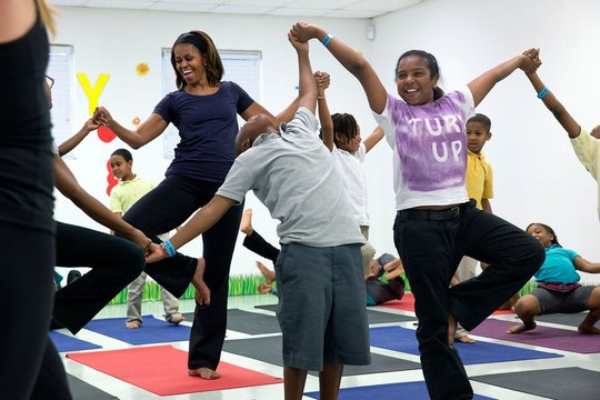 First Lady Michelle Obama joins an after school 'Let's Move!'