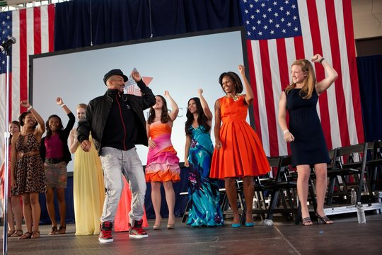 Choreographer Rosero McCoy leads a dance event at Jacksonville Naval Air Station.First Lady Michelle Obama and teen participants are at an event of 'Joining Forces,' a support group for service members, veterans, and their families. April 12, 2012