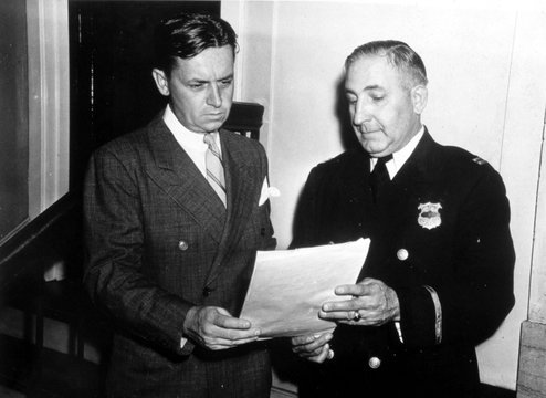 Eliot Ness with Captain Arthur Roth of Cleveland Police Dept., 1940