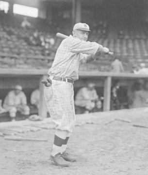 Casey Stengel, in a batting pose in Brooklyn Dodgers uniform, 1916