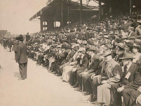Crowd of Chicago White Sox fans at Comiskey Park, c. 1910-1913. The men in the crowd are dressed