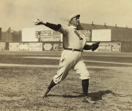 Cy Young pitching in 1908 in New York City, where his team played the Yankees