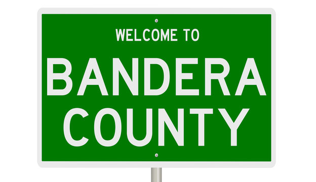 Rendering of a green 3d highway sign for Bandera County