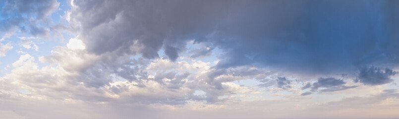 Wall Mural - Blue morning sky with clouds (wide background panorama).