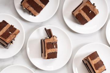 Pieces of layered dark chocolate cake on white plate