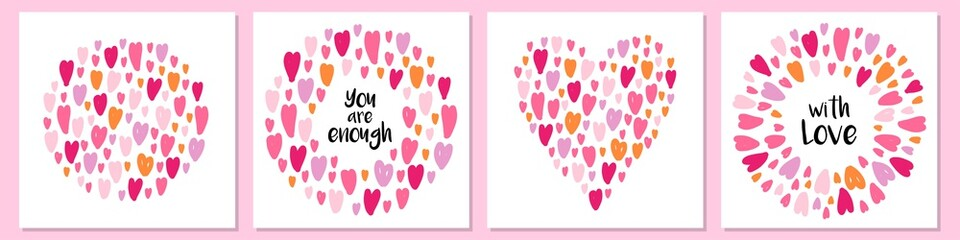 Cute set of cards background with hand drawn hearts