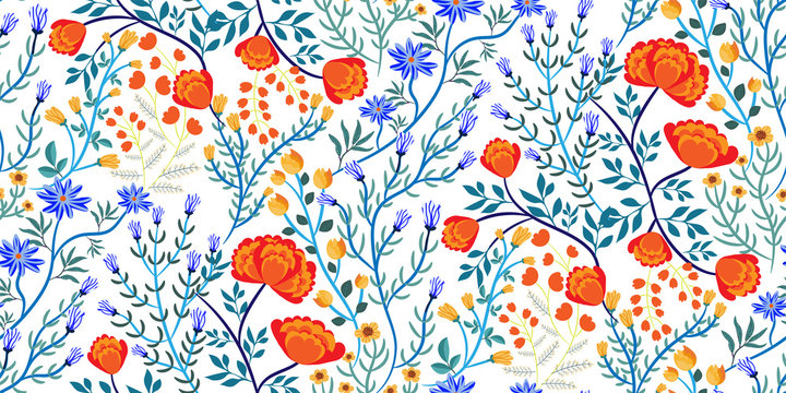 Vector seamless floral pattern with different kinds of colorful wildflowers - cornflowers, marigolds, tulips, leaves on white background. Bright Botanical print, fabric, Wallpaper, wrapping paper...