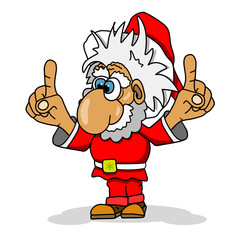 Illustration Cartoon Cheerful Santa Claus