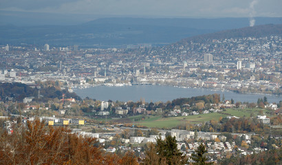 General view shows Lake Zurich and the city of Zurich