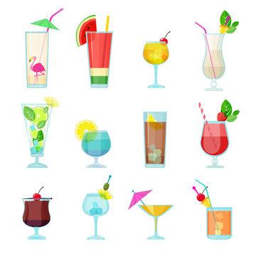 Cocktails collection. Alcoholic summer drinks liquid food in glasses mojito vodka sambuca martini vector set. Martini and mojito cocktail, liquid alcohol illustration