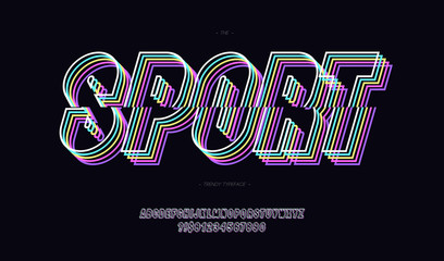 Sport vector font neon line style. Trendy typeface modern typography for t shirt, game, book, racing, infographics, motion graphics