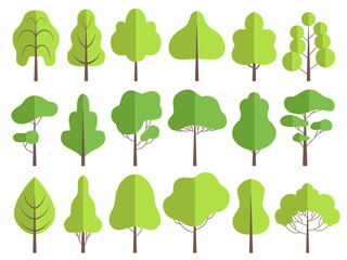 Flat trees. Nature green collection of plants vector trees illustrations. Forest tree natural green, set of plants