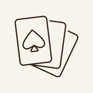 Playing cards line icon