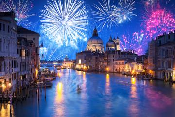 New Years firework display the Santa Maria della Salute Basilica in Venice, Italy
