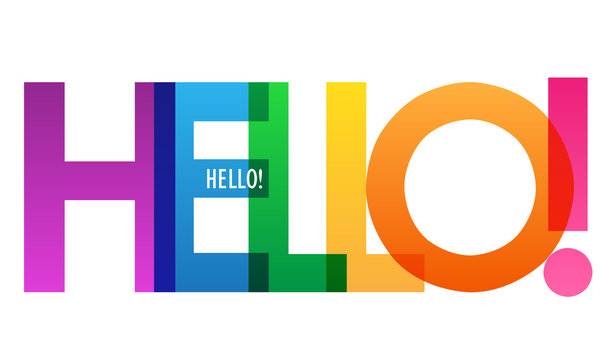 HELLO! rainbow vector typography banner