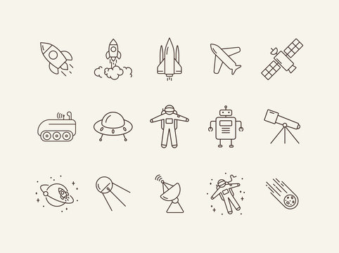Collection of space technology line icons