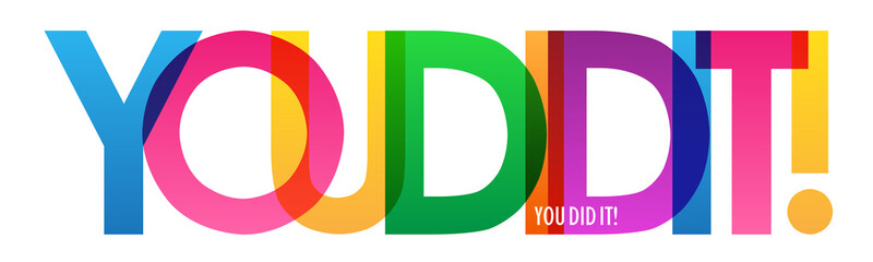 YOU DID IT! rainbow vector typography banner