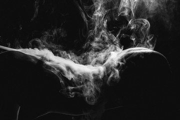 Beautiful body of a girl, lines, contours. smoke flows through the body