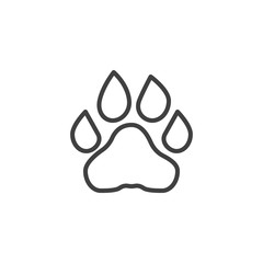 Lion paw print line icon. linear style sign for mobile concept and web design. Lion animal footprint outline vector icon. Symbol, logo illustration. Vector graphics
