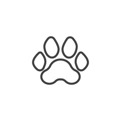 Tiger paw print line icon. linear style sign for mobile concept and web design. Tiger animal footprint outline vector icon. Symbol, logo illustration. Vector graphics