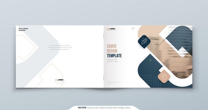 Horizontal Cover Design. Landscape A4 Cover Template for Brochure, Report, Catalog, Magazine. Modern Cover concept