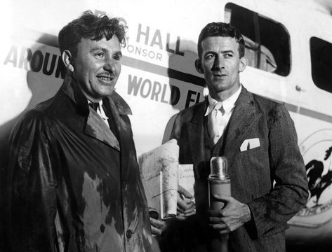 Wiley Post & Harold Gatty set out to circle world in 10 days from Roosevelt Field, NY 6/23/31