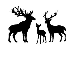 Deer family. Silhouettes of animals