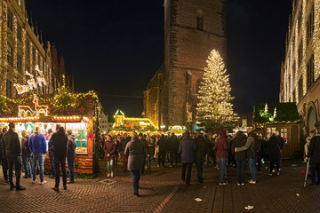 Christmas Market around Market Church in Hannover in night, Germany