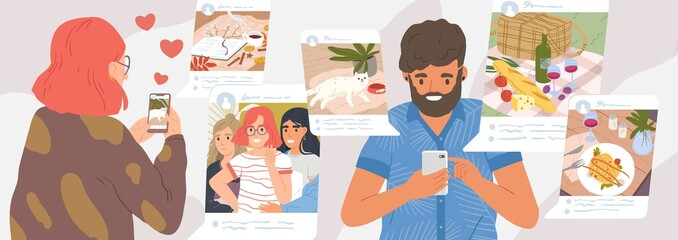 Girl and guy browse social networks. Man and woman making post and sharing happy moments with their followers. Social media influence and addiction. Vector illustration in flat cartoon style.