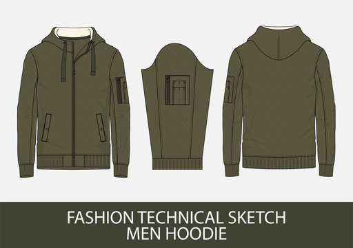 Fashion technical sketch men hoodie
