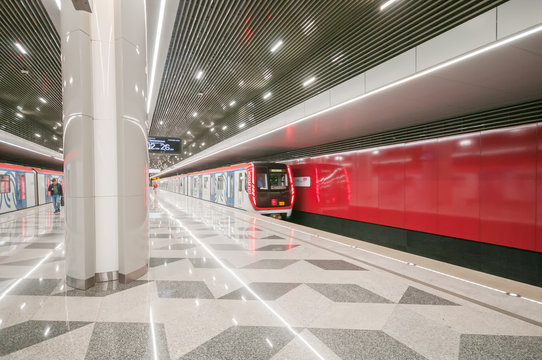 Moscow, Russia - september 14, 2019: Arriving subway train on the  station Nekrasovka