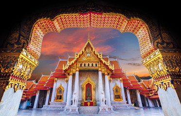 Papiers peints Bangkok Amazing Thailand Tourist Religion attractionsWat Benchamabophit or Marble temple in Bangkok, Thailand