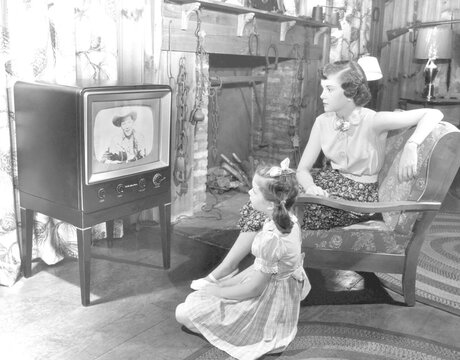 Family watching television, circa 1950s