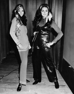 Karen Cole and Kathy Bauman (Miss Ohio, 1970) model at a teenage fashion show, 1970