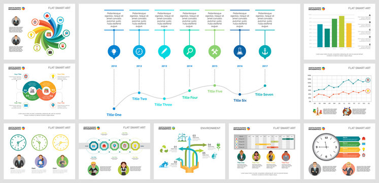 Colorful ecology or management concept infographic charts set