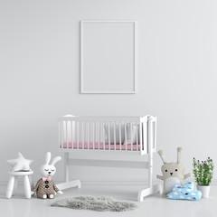 Blank photo frame for mockup in child bedroom, 3D rendering