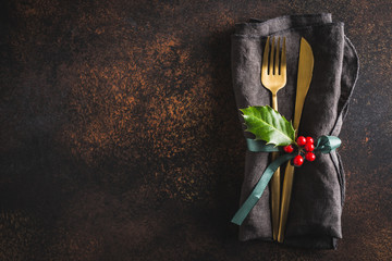 Christmas cutlery with napkin