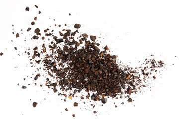 Poster Café en grains Dark ground coffee bean crushed craked broken isolated on white background top view