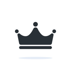 flat linear vector image on a white background, crown icon with a shadow under it