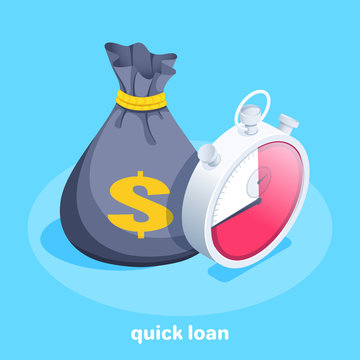 isometric vector image on a blue background, a black bag with money and a dollar icon next to a stopwatch, quick loan