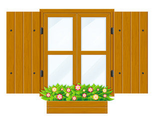 open wooden window with shutters and transparent glass for design vector illustration