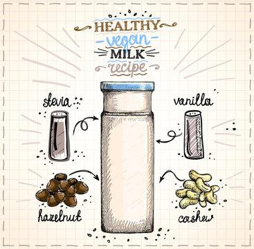 Healthy vegan nut milk recipe illustration, raw cashew and hazelnut milk with ingredients