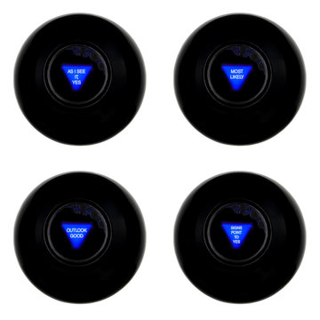 Set of four magic 8 balls with indecisively positive predictions isolated on white background