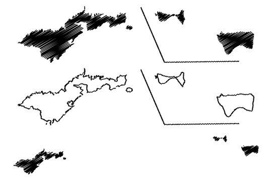 American Samoa (Unincorporated and unorganized U.S. territory, United States of America) map vector illustration, scribble sketch Western Samoa (Tutuila, Manu'a, Rose Atoll and Swains Island) map