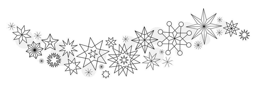 Sternenschweif mit verschiedenen geometrischen Sternen in outline Optik