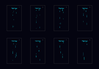 Sprite sheet of water drops animation. falling water drops classic animation. drop water falling animation frames for animation, motion or something else. Wall mural