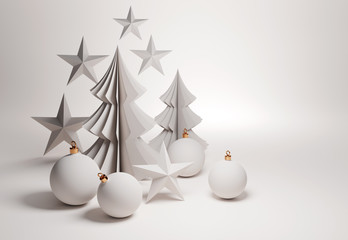 A composition of a set of christmas decorations, with paper trees and baubles. 3D illustration.
